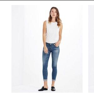 AG Cigarette Stilt Roll Up Stonewashed Crop Jeans